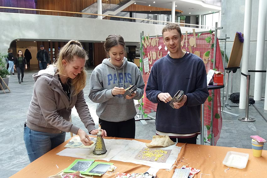 Students make candles from wax